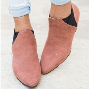 Cinnamon Blushed Almond Toe Ankle Booties